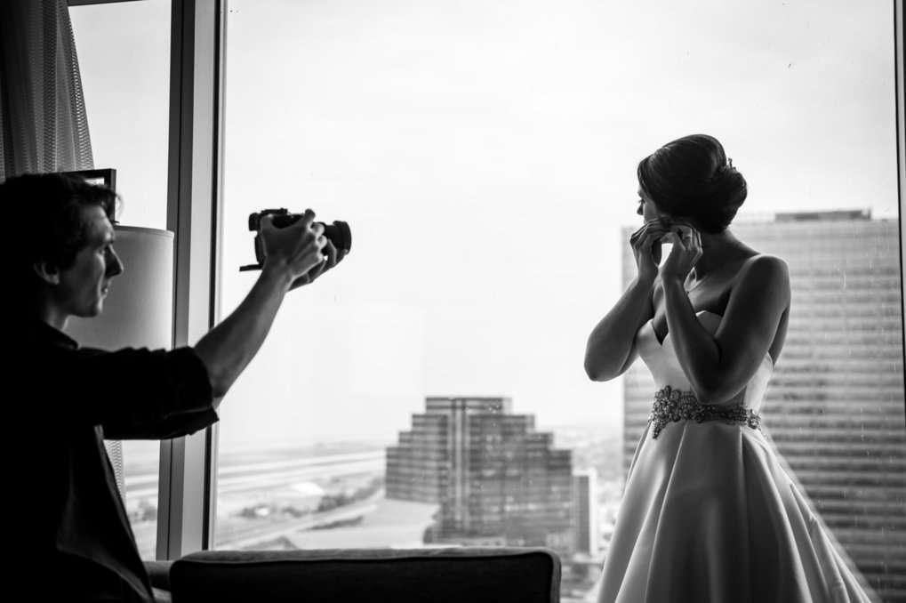 Cleveland Wedding Videographer filming a wedding